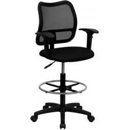 Mid-Back Mesh Drafting Stool with Arms - Black Fabric