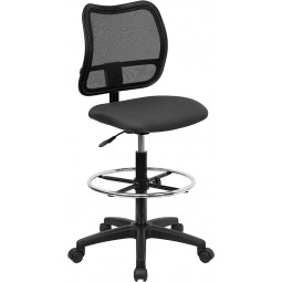 Mid-Back Mesh Chair or Stool with Gray Fabric Seat - 4 Color Options