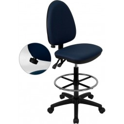 Mid-Back Fabric Multi-Functional Drafting Stool with Adjustable Lumbar Support - Navy Blue