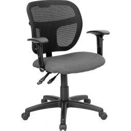 Mid-Back Mesh Task Chair with Fabric Seat - 3 Color Options