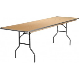 Rectangular HEAVY DUTY Birchwood Folding Banquet Tables with Metal Edges and Protective Corner Guards - 2 Sizes Available