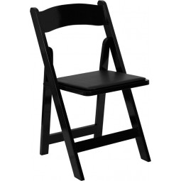Signature Series Wood Folding Chair with Vinyl Padded Seat - Black