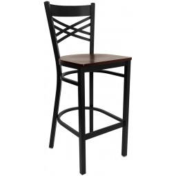 Signature Series Black ''X'' Back Metal Restaurant Bar Stool - Mahogany Wood Seat