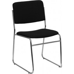 Signature Series 1000 lb. Capacity Black Fabric High Density Stacking Chair with Chrome Sled Base