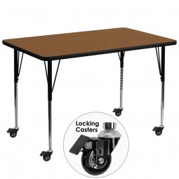 Mobile 36''W x 72''L Rectangular Activity Table - 4 Colors Available