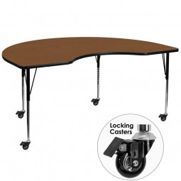 Mobile 48''W x 96''L Kidney Shaped Activity Table - 4 Colors Available