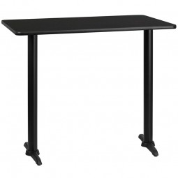 30'' x 48'' Rectangular Black Laminate Table Top with Bar Height T-Bases