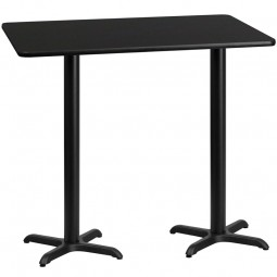Square and Rectangular Black Laminate Table Topd with Bar Height Table X-Bases - Multiple Sizes Available