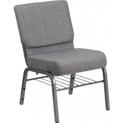 Signature Series 21'' Extra Wide Gray Church Chair with 3.75'' Thick Seat, Book Rack - Silver Vein Frame - 2 Seat Options