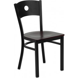 Signature Series Black Circle Back Metal Restaurant Chair - 4 Seat Options