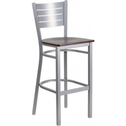 Signature Series Silver Slat Back Metal Restaurant Barstool - 5 Seat Options