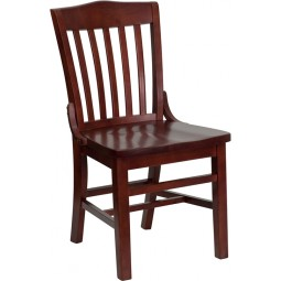 Signature Series Mahogany Finished School House Back Wooden Restaurant Chair