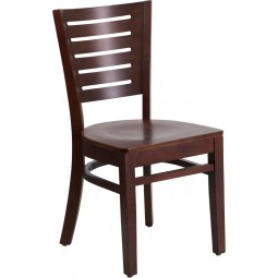 Darby Series Slat Back Walnut Wooden Restaurant Chair - 3 Seat Options