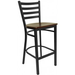Signature Series Black Ladder Back Metal Restaurant Bar Stool - Mahogany Wood Seat