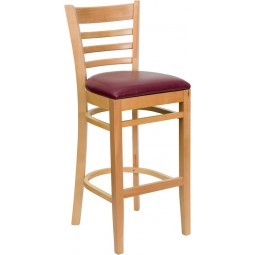 Signature Series Natural Wood Finished Ladder Back Wooden Restaurant Bar Stool - 3 Seat Options