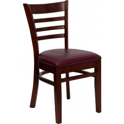 Signature Series Mahogany Finished Ladder Back Wooden Restaurant Chair - Burgundy Vinyl Seat