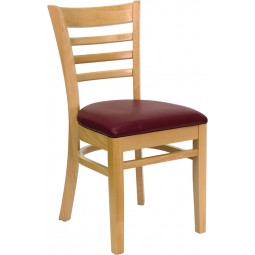 Signature Series Natural Wood Finished Ladder Back Wooden Restaurant Chair - 3 Seat Options