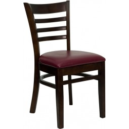 Signature Series Walnut Finished Ladder Back Wooden Restaurant Chair - 3 Seat Options