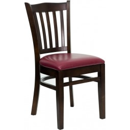 Signature Series Walnut Finished Vertical Slat Back Wooden Restaurant Chair - 3 Seat Options