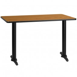 Rectangular Natural Laminate Table Tops with 5'' x 22'' Table Height Bases - 3 Sizes Available