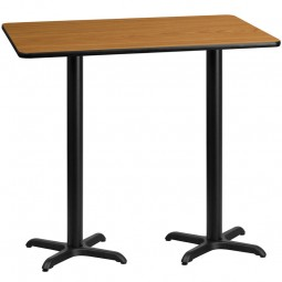 30'' x 60'' Rectangular Natural Laminate Table Top with Bar Height Table X-Bases