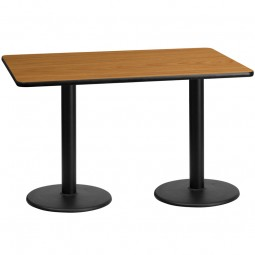 Square and Rectangular Natural Laminate Table Tops with Round Table Height Bases - Multiple Sizes Available