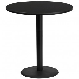 Round Black Laminate Table Tops with Round Bar Height Table Bases - 4 Sizes Available