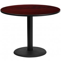 Round Mahogany Laminate Table Tops with Round Table Height Bases - 4 Sizes Available