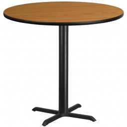 Round Natural Laminate Table Tops with Bar Height Table X-Base - 4 Sizes Available