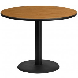 Round Natural Laminate Table Tops with Round Table Height Bases - 4 Sizes Available