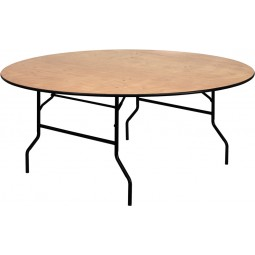 Round Wood Folding Banquet Tables with Clear Coated Finished Tops - 3 Sizes Available