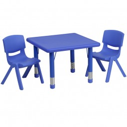24'' Square Adjustable Plastic Activity Table Sets with 2 School Stack Chairs - 3 Colors Available