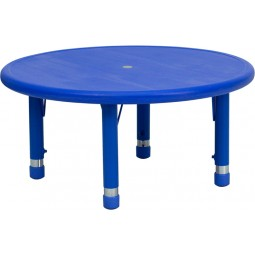 33'' Round Height Adjustable Blue Plastic Activity Table