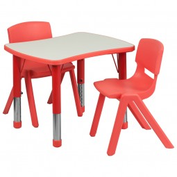 21.875''W x 26.625''L Adjustable Rectangular Red Plastic Activity Table Set with 2 School Stack Chairs