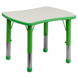 21.875''W x 26.625''L Height Adjustable Rectangular Plastic Activity Table with Gray Top - 3 Colors Available