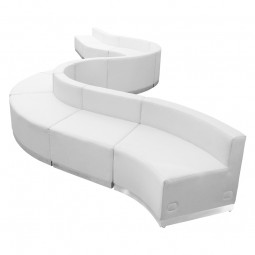 Signature Alon Series White Leather Reception Configuration, 10 Pieces
