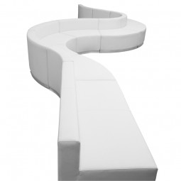 Signature Alon Series White Leather Reception Configuration, 9 Pieces