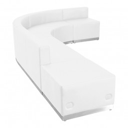 Signature Alon Series White Leather Reception Configuration, 5 Pieces