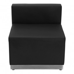 Signature Alon Series Black Leather Chair with Brushed Stainless Steel Base