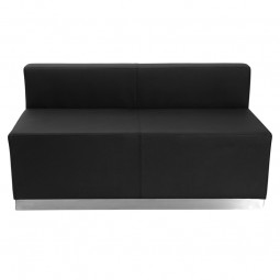 Signature Alon Series Black Leather Loveseat with Brushed Stainless Steel Base