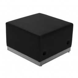 Signature Alon Series Black Leather Ottoman with Brushed Stainless Steel Base