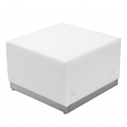 Signature Alon Series White Leather Ottoman with Brushed Stainless Steel Base