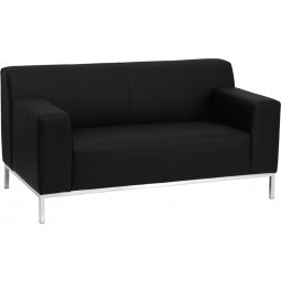 Signature Definity Series Contemporary Leather Love Seat with Stainless Steel Frame - Black