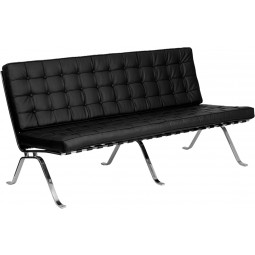 Signature Flash Series Black Leather Sofa with Curved Legs