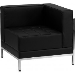 Signature Imagination Series Contemporary Black Leather Right Corner Chair with Encasing Frame