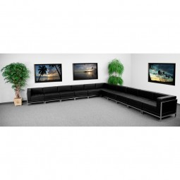 Signature Imagination Series Black Leather Sectional Configuration, 11 Pieces