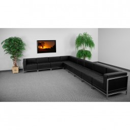 Signature Imagination Series Black Leather Sectional Configuration, 9 Pieces
