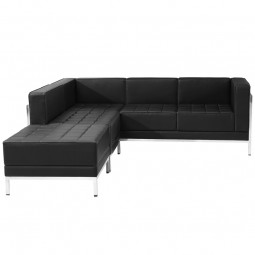 Signature Imagination Series Black Leather Sectional Configuration, 3 Pieces