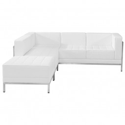 Signature Imagination Series White Leather Sectional Configuration, 3 Pieces