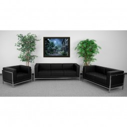 Signature Imagination Series Black Leather 3 Piece Sofa Set